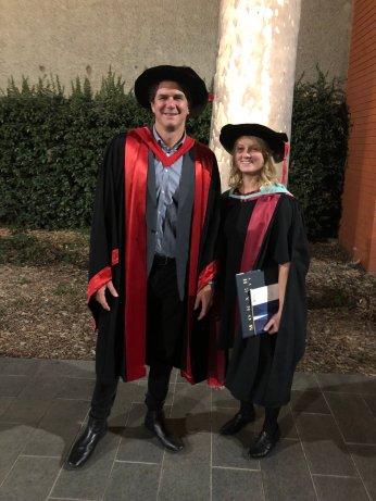 Amanda Petterson with PhD supervisor Prof Dustin Marshall.
