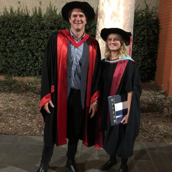 Amanda Petterson with PhD supervisor Prof Dustin Marshall.